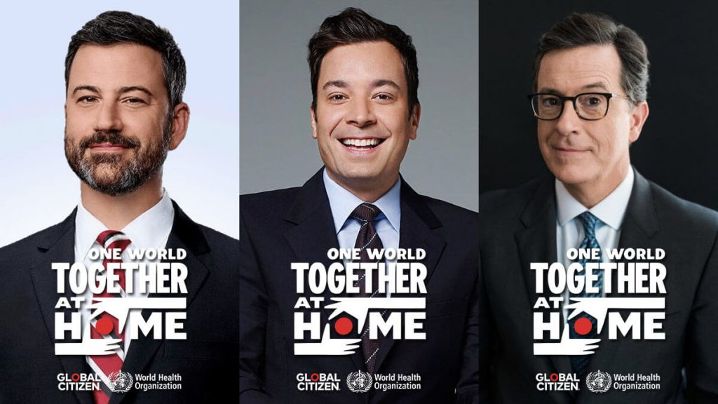 Kimmel, Fallon, and Colbert will host One World: Together at Home