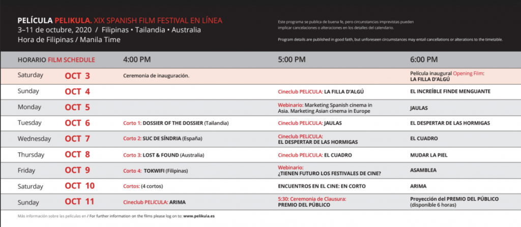 19th PELÍCULA-Spanish Film Fest now ongoing